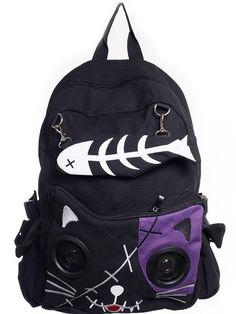 """Kitty"" Speaker Backpack by Banned Apparel (Multiple Options) - www.inkedshop.com#inked #inkedmag #inkedgirls #inkedguys #kityspeaker #backpack #colorchoices #black"