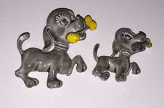 Dog Pins Brooch Set Big Little Puppy Bone Vintage Jewelry Gray Yellow Fashion