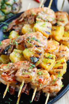 Grilled Coconut and Pineapple Sweet Chili Shrimp--They look SO GOOD, but I can't have any of the peppers for flavoring!