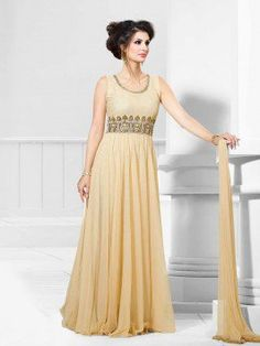 Cream Net Wedding Gown With Santone Inner (Free Size)