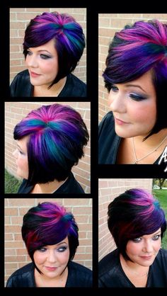 color on dark short hair Haircut And Color, Hair Color And Cut, Cool Hair Color, Short Hair Cuts, Short Hair Styles, Funky Hair Colors, Funky Hairstyles, Formal Hairstyles, Wedding Hairstyles