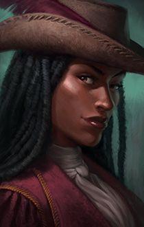 portrait human female afro pirate merchant ambassador diplomate from Pillars of Eternity