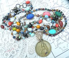long catholic medal necklace assemblage by lilyofthevally on Etsy