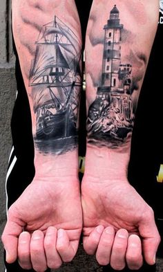 This man's left arm will always guide his right arm home. #inked #inkedmag #tattoo #arm #nautical #ship #lighthouse #realism