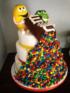 .dont like the top so much but I like the idea of M&Ms spilling out and down the side