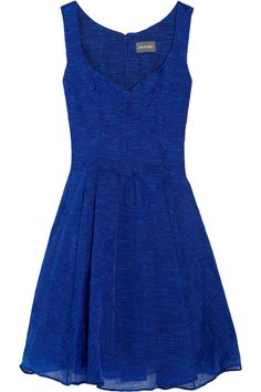 Zac Posen Blue Embroidered Organza Dress