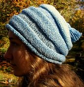 """Ravelry: Roly Poly Roll Brim free knit pattern. Size 7 knitting needles: 16"""" circular and doublepointed (for top of crown), worsted weight yarn"""