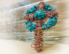 Copper Tangled Cross with Chalcedony Pyrite & by TheDesignVineArt