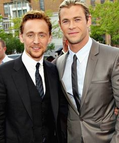 Photo of Tom Hiddleston & his friend actor  Chris Hemsworth - England