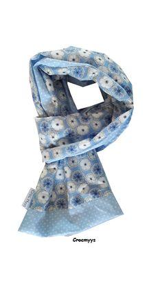 Foulard liberty toria bleu doublé bleu ciel à pois : Echarpe, foulard, cravate par crocmyys