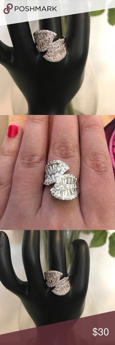 Brand new white topaz S925 wrap ring size 8 Beautiful brand new sparkling white topaz stamped S925 wrap ring size 8. Jewelry Rings