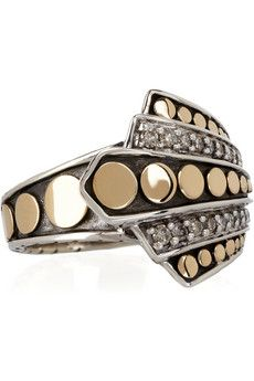 John Hardy 18-karat and sterling silver diamond ring