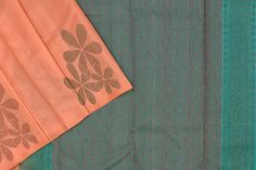 Peach soft silk with a bluish green paloo and blouse. Soft Silk Sarees, Green Blouse, Silk Thread, Peach, Pure Products, Texture, Fabric, Color, Surface Finish