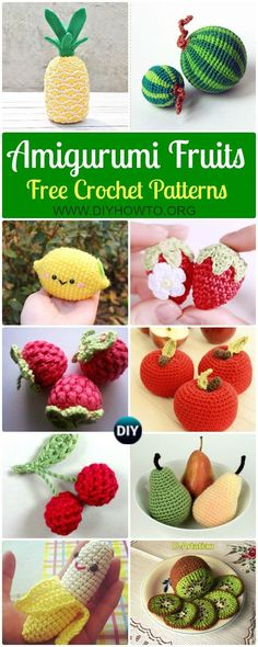 Crochet Amigurumi Fruits Free Patterns Collection Of Crochet Amigurumi Fruits Free Patterns Fruit Softies And Toys For Kids Kitchen And Home Decoration Apple Pear Raspberry Strawberry Watermelon Via Diyhowto Crochet Fruit, Crochet Food, Cute Crochet, Crochet For Kids, Crochet Crafts, Yarn Crafts, Crochet Baby, Crochet Projects, Crochet Summer