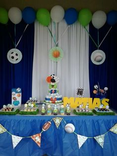 Sports ball baby shower party! See more party planning ideas at CatchMyParty.com!