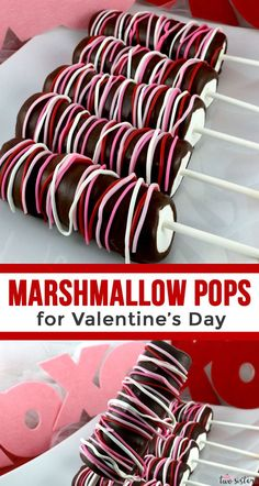 Marshmallow Pops for Valentine's Day - a colorful and delicious Valentine's Day . - Marshmallow Pops for Valentine's Day – a colorful and delicious Valentine's Day dessert for y - Valentine Desserts, Valentines Day Cookies, Valentines Baking, Kinder Valentines, Valentines Day Chocolates, Valentine Chocolate, Valentine Cookies, Köstliche Desserts, Valentine Food Ideas