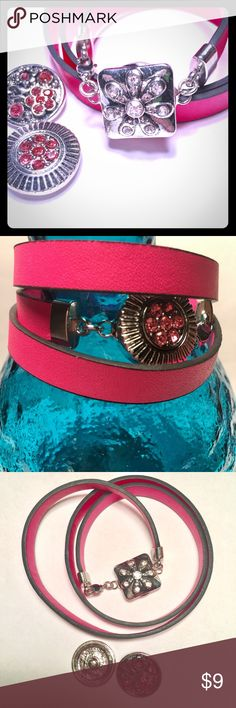 NEW SNAP CHARM LEATHER BRACELET AND CHARMS Brand new hot pink leather wrap bracelet with a snap for interchangeable charms. Comes with the three charms, as shown. Jewelry Bracelets
