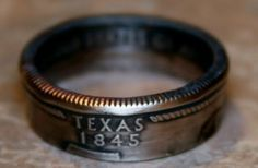 2004 Texas State Quarter Coin Ring You Pick Size 5 to 14 by Custom Coin Rings--Ready to Ship