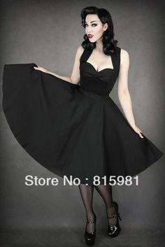 Black Straps Sexy Sweetheart Rockabilly Swing Dress 50's Lolita Princess Party Dress XS S M L 2XL 3XL 4XL 286 US $79.00