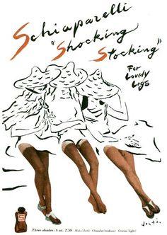 VINTAGE AD calze di nylon, no, ce le dipingiamo con lo shocking liquid #donne #fashion #woman  #vintage