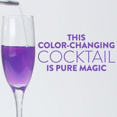 Wow your friends with this fun party trick! Cabbage juice is a natural pH indicator and will change colors as you add ingredients that are either more basic or acidic — so this pretty cocktail changes from bto be amazed. Party Drinks, Cocktail Drinks, Fun Drinks, Yummy Drinks, Cocktail Recipes, Alcoholic Drinks, Beverages, Cocktails, Cabbage Juice