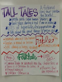 Folktales Fables Tall Tales Anchor Chart   C L A S S R O O M