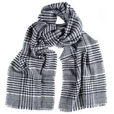 Black & White Houndstooth Check Cashmere Scarf