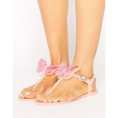 Miss KG Dina Butterfly Toepost Jelly Flat Sandals (180 BRL) ❤ liked on Polyvore featuring shoes, sandals, beige, thong sandals, jeweled sandals, flat pumps, beige sandals and flat thong sandals
