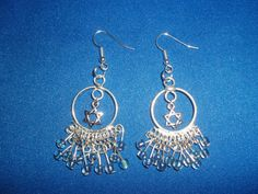 OOAK! Silver, Star of David, & Blue Bead, Dangle, Chandelier, Earrings! Judaic, Teens, Woman's Earrings, Mother's Day Gift