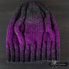 ae769899b37 Cozy   Warm Hand knitted gradient ombre beanie hat magenta Unisex mens  Jinxed Stitches Cable Knit