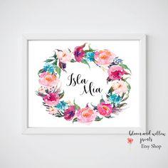 Baby name sign flowers, Door Decor Baby Name Flowers  11x14, 8x10, 5x7, CUSTOM Printable Name Art Door Sign, Custom Name/ Purple Teal Wreath