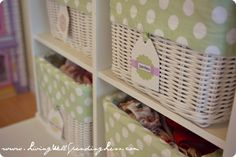 clothing baskets with cute labels {How I get my kids to clean their room via livingwellspendingless.com} #kids #cleaning #bedroom