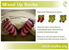 NRICH enriching mathematics ~ Mixed up Socks problem poster Maths Resources, Math Activities, Math Problem Solving, Math Projects, Math Problems, Problem And Solution, Numeracy, Mathematics, Third