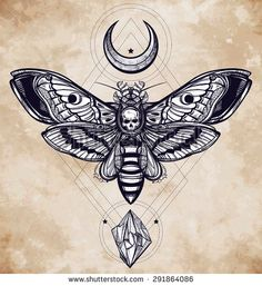 Death's head hawk moth with moons and stones. Design tattoo art. Isolated vector illustration. Trendy Vintage style element. Dark romance, philosophy, spirituality, occultism, alchemy, death, magic.