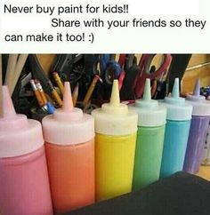 Never buy paint for your kids' craft and art projects again! I found this really great article with 7 different finger paint recipes you can test out. Please keep in mind these recipes are for kids and will not be exactly like real paint… but the kids will still have just as much fun.