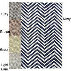 Handmade Alexa Chevron Wool Rug (5x8) ---light blue----