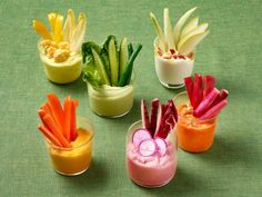 Start your meal with these fun single servings of veggies and dip.