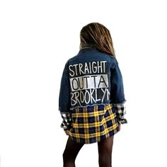 'STRAIGHT OUTTA YOUR CITY' DENIM JACKET Dope Jackets, Denim Jackets, Flannel Jacket, Textiles, Printed Maxi Skirts, Diy Shirt, Sewing Clothes, Back To Black, Clothing Patterns