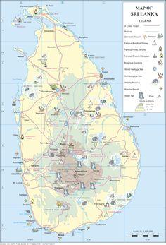 Large detailed road map of Sri Lanka Prashanthan Pinterest