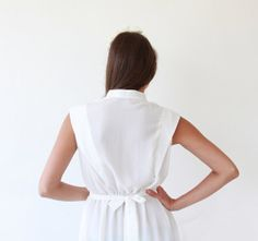 White Dress  Dress with buttons  knee length by BLUSHFASHION, $49.00
