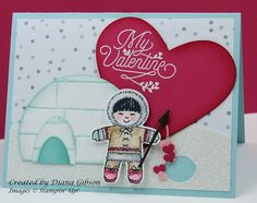 A sweet Eskimo Valentine using the Cookie Cutter Christmas Stamp Set from Stampin' Up!.