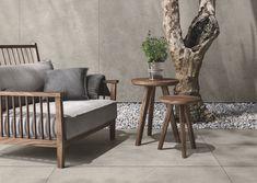 Taupe, Grey oder Silver. Großformatige Fliesen für Boden oder Wand. Evolution, Accent Chairs, Throw Pillows, Bed, Table, Furniture, Home Decor, Floor Design, Porcelain Tiles