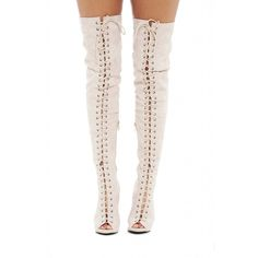 AX Paris Thigh Lace Up Boots ($91) ❤ liked on Polyvore featuring shoes, boots, lace up boots, ax paris, front lace up boots, over the knee lace up boots and laced boots
