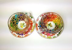 Set of 2 Tea Cups and Saucers, Sun catcher cups and saucers set, Hand Painted Multi Coloured Bubbles Glass Teacup Set