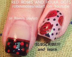 roses and polka dot tutorial by robinmoses - Nail Art Gallery nailartgallery.nailsmag.com by Nails Magazine www.nailsmag.com #nailart
