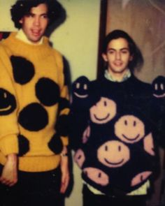 Robert Duffy & Marc Jacobs in 1984, when their partnership began, wearing some of Marc's original sweater designs.