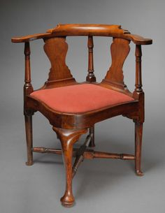 QUEEN ANNE COMPASS SEAT CORNER CHAIR - Boston, Massachusetts, Circa 1750.  Primary Wood:  Walnut, Secondary Woods:  Pine, Maple Seat Frame.  Height:  31 1/2 inches, Width:  28 3/4 inches, Depth:  27 1/2 inches.  Reference: For a similar chair also from Boston see Broke Jobe & Myrna Kaye's, New England Furniture: The Colonial Era, pages 360-361, figure 100. Photograph © Bruce M. White