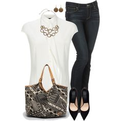 White Shirt 2 and Jeans, created by daiscat on Polyvore