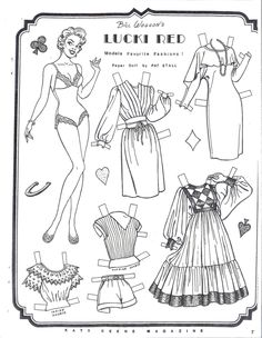 Lucki Red Models Favorite Fashions Paper Doll Sheet by Pat Stall | eBay