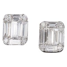 ad0fe41bc 5/8 CT. T.w. Baguette and Round Diamond Stud Earrings in 14K White ...